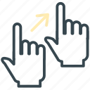 arrow, corner, gesture, hand, move, right icon