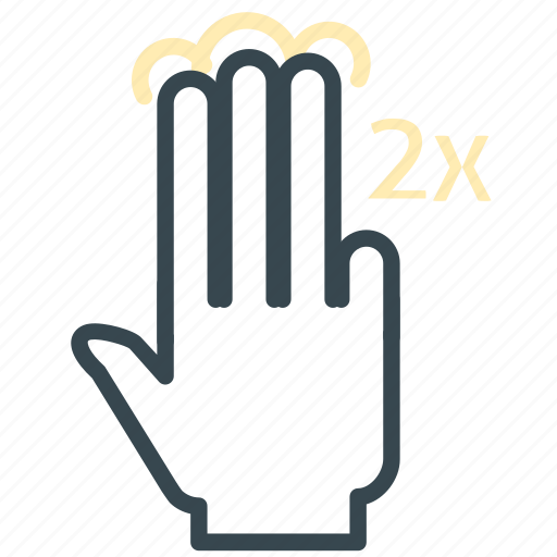 double, finger, gesture, hand, tap, three icon