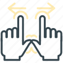 arrows, gestures, hand, in, two, zoom icon