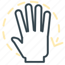 arrow, full, gesture, hand, move, rotate icon
