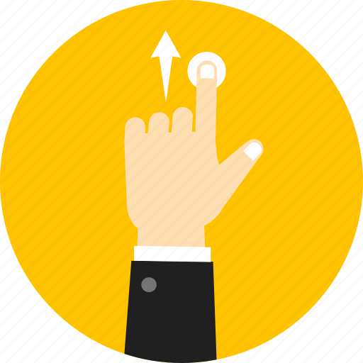 arrow, direction, gesture, hand, navigation, swipe, up icon