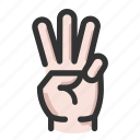 count, gesture, hand, three icon