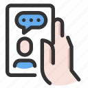 chat, gesture, hand, phone icon
