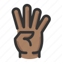 count, four, gesture, hand icon