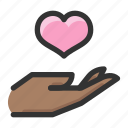 charity, gesture, give, hand, love icon