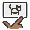 cat, gesture, hand, picture, swipe icon