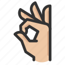 gestures, hand, look, ok icon