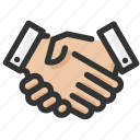 agreement, gestures, greeting, hand, shake icon