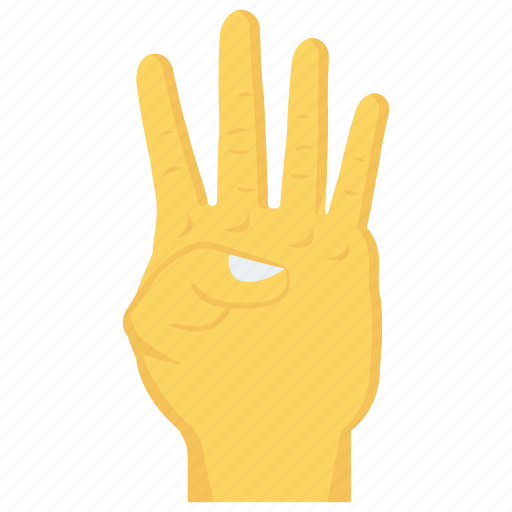 finger, four, gesture, hand, interactive icon