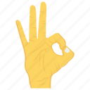 finger, gesture, hand, interactive, ok icon