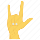 finger, gesture, hand, interactive, rock icon