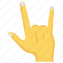 finger, gesture, hand, rock, up icon