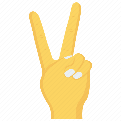 finger, gesture, hand, interactive, victory icon