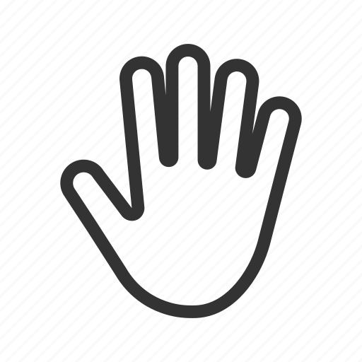 contact, fingers, five, hand gesture, open, palm icon