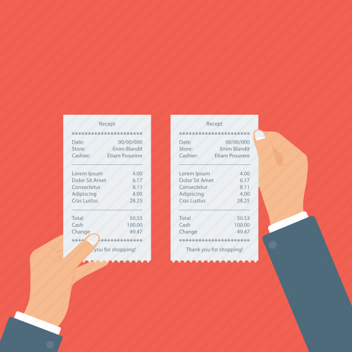 invoice observation, receipt checking icon