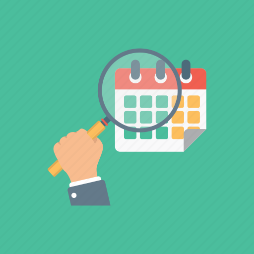 calendar observation, calendar with magnifier, date search, event search, schedule analysis icon