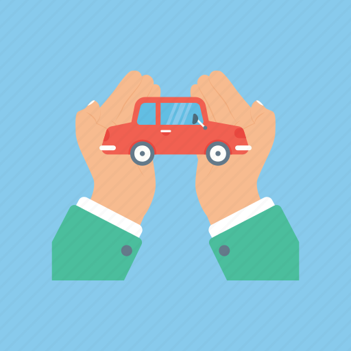 automobile insurance, car leasing, car protection, car security, hand hold car icon
