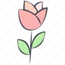 flower, love, love flower, rose, tulip, valentine, valentine's day icon