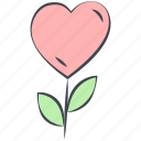 flower, heart flower, love, lovely, valentine, valentine's day icon