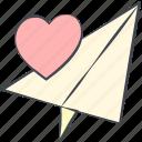 love, love message, love plane, lovely, paper plane, valentine, valentine's day icon