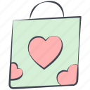love, love bag, lovely, shopping bag, valentine, valentine's day icon