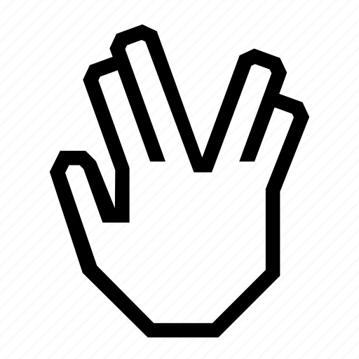 hands, live long, spock, star, startrek, volcan icon