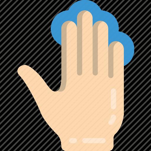 finger, four, press icon