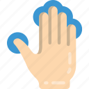 finger, five, press icon