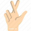 crossed, fingers icon