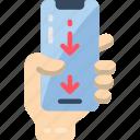 down, mobile, swipe, thumb