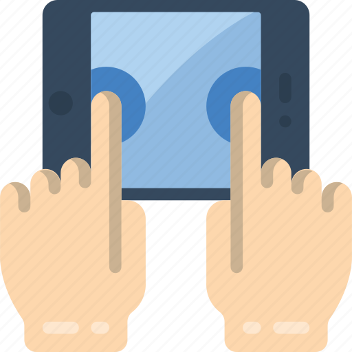 hand, tablet, tap, two icon
