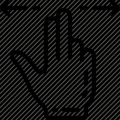finger, swipe, two icon