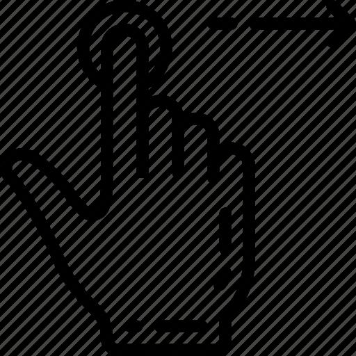 finger, single, swipe icon