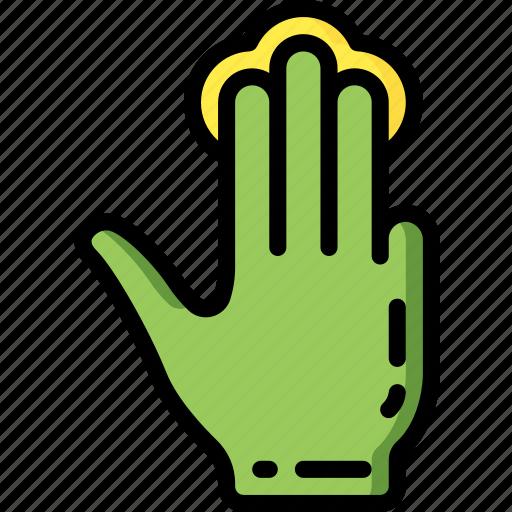 finger, press, three icon