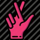 crossed, fingers icon