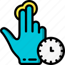 finger, press, timed, two icon