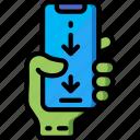 down, mobile, swipe, thumb icon
