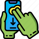 finger, mobile, swipe, two icon