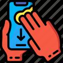 finger, mobile, swipe, three icon