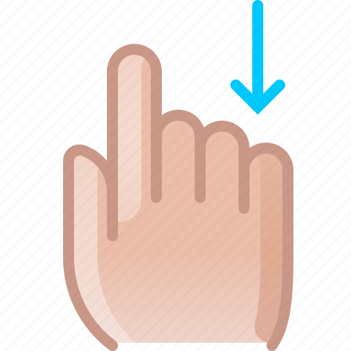 control, down, finger, gesture, hand, scroll, yumminky icon