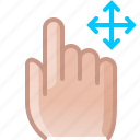 control, finger, gesture, hand, move, push, yumminky icon