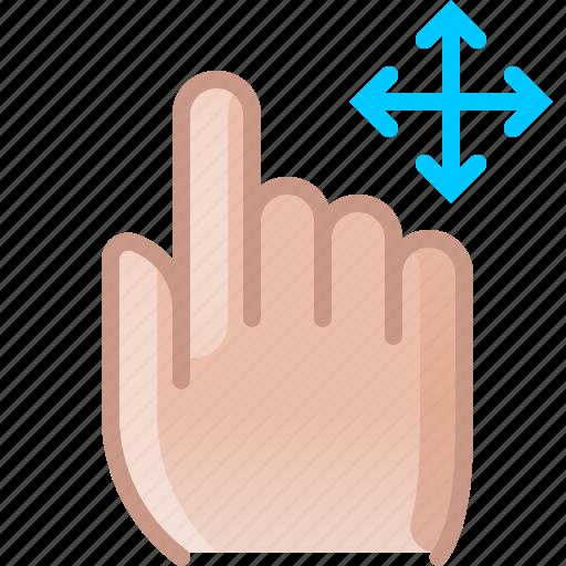 control, finger, gesture, hand, move, push, yumminky icon