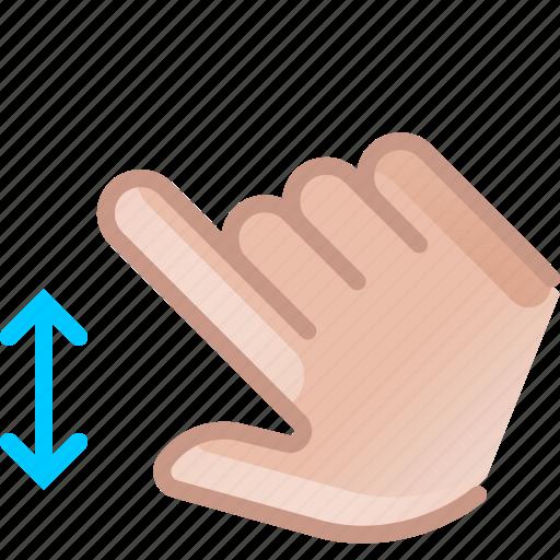 control, gesture, hand, scroll, slide, vertical, yumminky icon