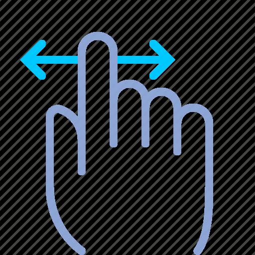control, fingers, gesture, hand, horizontal, scroll, yumminky icon