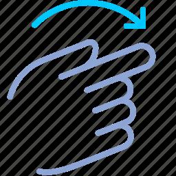 control, gesture, hand, rotate, rotation, turn, yumminky icon