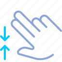 control, fingers, gesture, hand, pinch, yumminky, zoom out icon