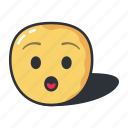 amazed, cartoon, emoji, emoticon, emotion, sad icon