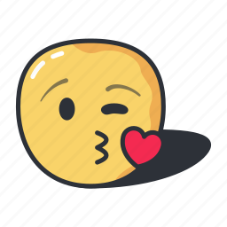 blowing, emoji, emoticon, emotion, happy, kiss icon