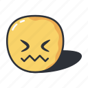 confounded, emoji, emoticon, emotion, frustrated icon