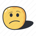 confused, emoji, emoticon, expression, sad icon
